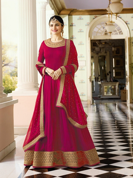 Purchase Beautiful Designer Pink Georgette Indian Party Wear Anarkali Suit Online