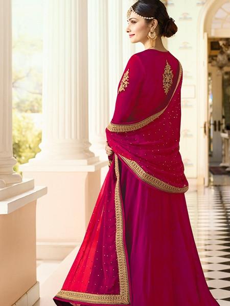 Beautiful Designer Pink Georgette Indian Party Wear Anarkali Suit