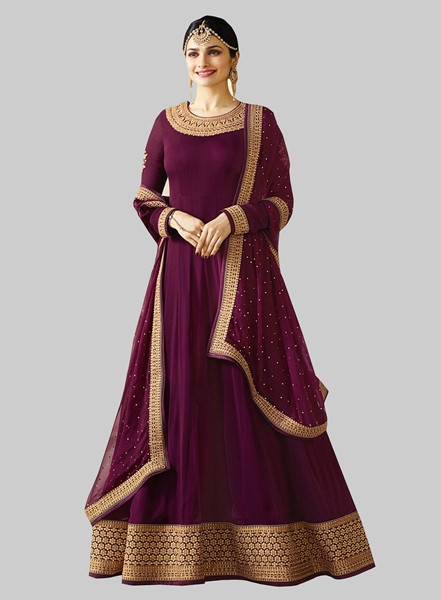 Latest Designer Purple Georgette Long Pakistani Anarkali Suit