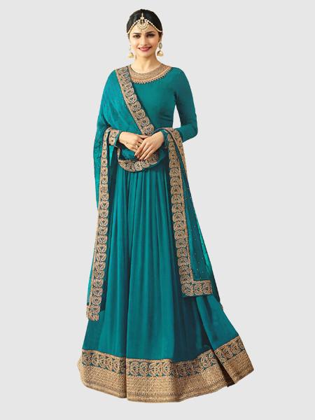 Traditional Turquoise Designer Georgette Anarkali Suit For Diwali