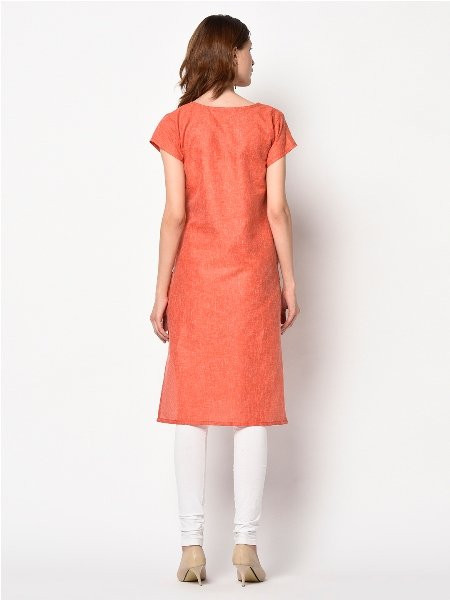 Plain Orange Printed Cotton Straight Kurta