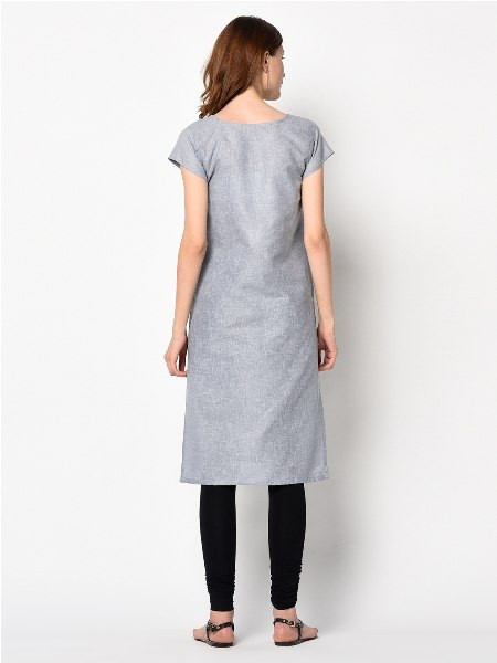 Plain Grey Solid Straight Cotton kurti