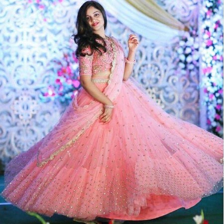 Buy Designer  Pink Net Embroidered Reception Lehenga Online from YOYO Fashion