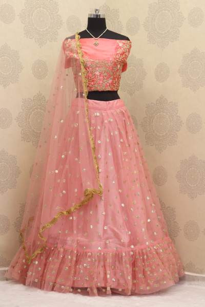 Designer  Pink Net Embroidered Reception Lehenga