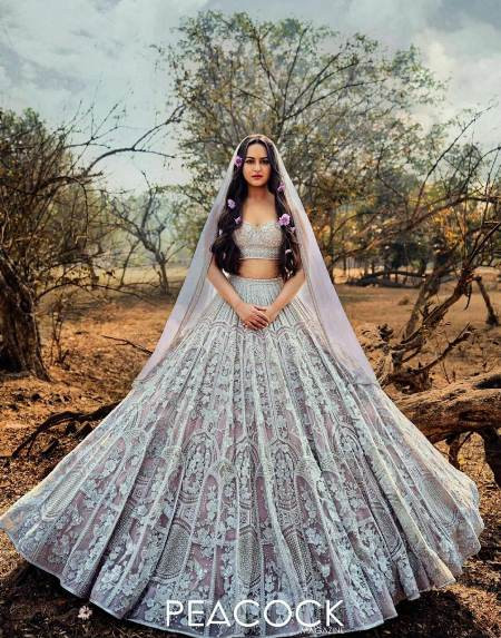 Buy Sonakshi Sinha Grey Embroidered Designer Lehenga Choli  Online from YOYO Fashion
