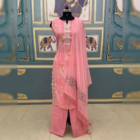 Baby Pink Floral Printed plazo Suit with Dupatta