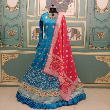 Designer Blue Satin Silk Printed Anarkali Gown