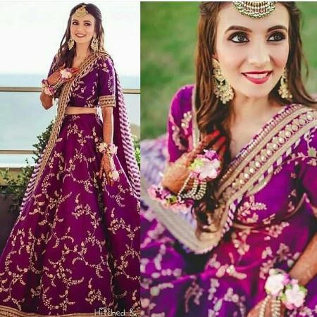 Buy Sabyasachi Purple Silk Embroidered Bridal Lehenga Choli Online from YOYO Fashion