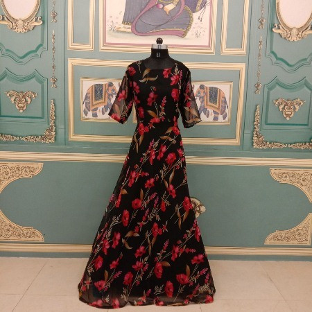 Black and Red Floral Printed Party Wear Gown