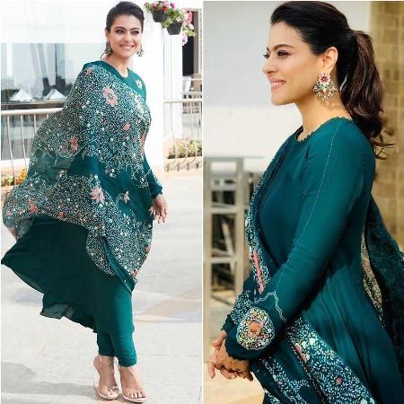 Kajol Devgan Green Bollywood Churidaar Suit with Printed Dupatta
