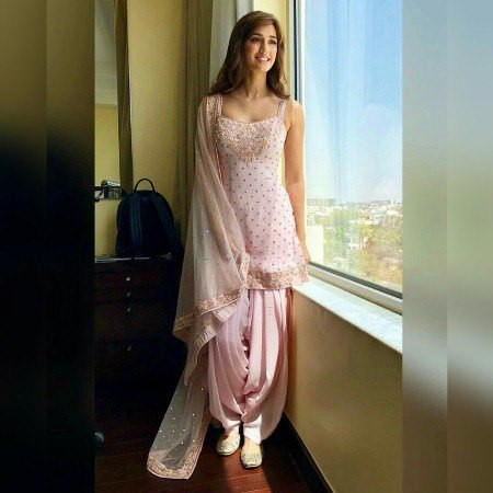 Buy Disha Patani Baby Pink Georgette Patiyala Dress Online from YOYO Fashion