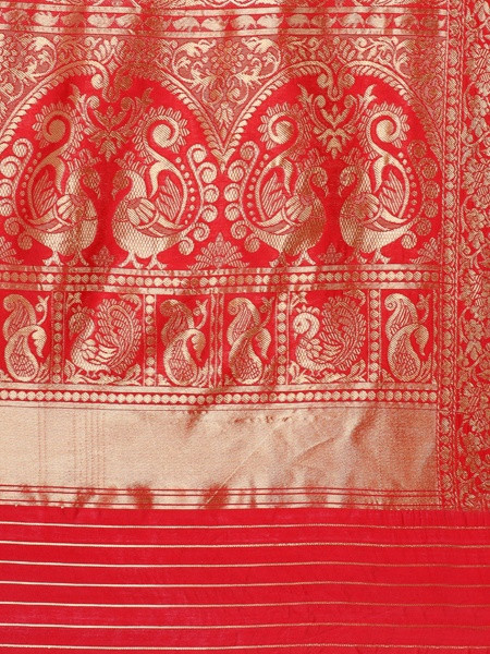 Red Peacock  Woven Designer Silk Saree - Pallu Pattern - YOYO Fashion