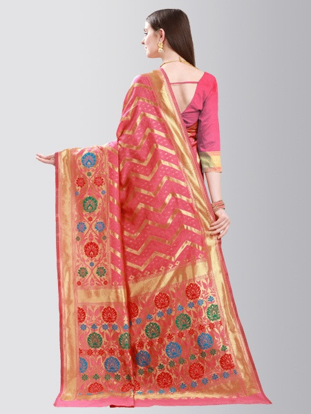 Peach and Gold Striped Art Silk Saree - Back  Pattern - YOYO Fashion