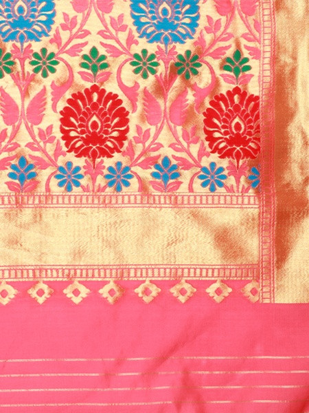 Peach and Gold Striped Art Silk Saree - Pallu Pattern - YOYO Fashion