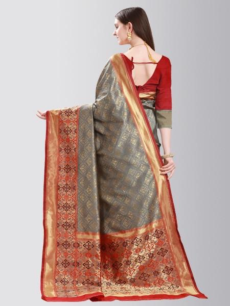 Grey and Red Designer Mysore Silk Saree - Back Pattern - YOYO Fashion