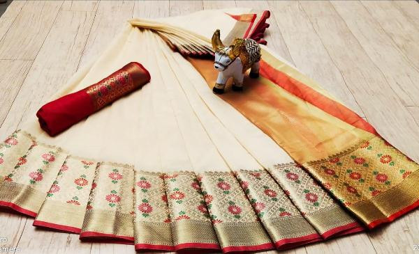 Buy White Soft Cotton Saree with Red Border Online from YOYO Fashion