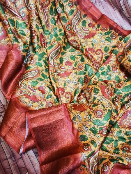 Yellow and Red Digital printed Linen Saree
