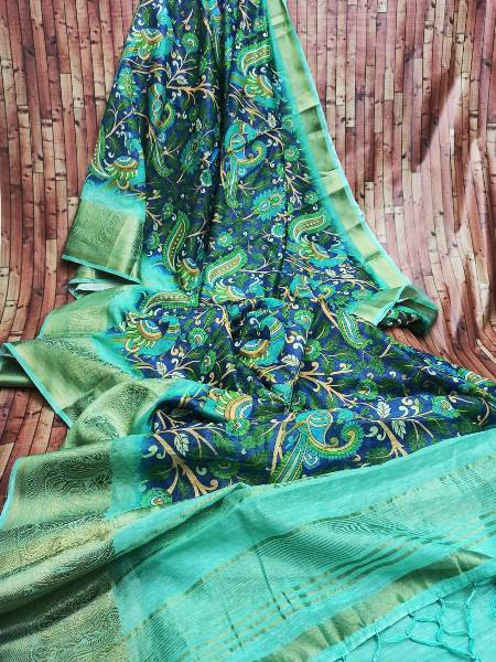 Buy Blue Digital Floral Printed Cotton Linen Saree Online from YOYO Fashion