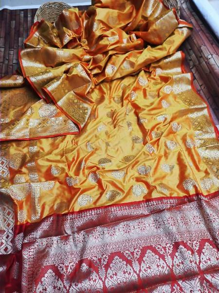 Yellow and Red Zari Woven Bridal Banarasi Silk Saree