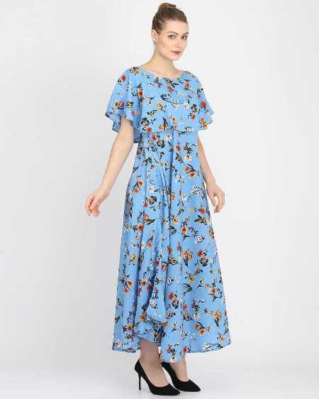Blue Floral Printed A-Line Maxi Dress