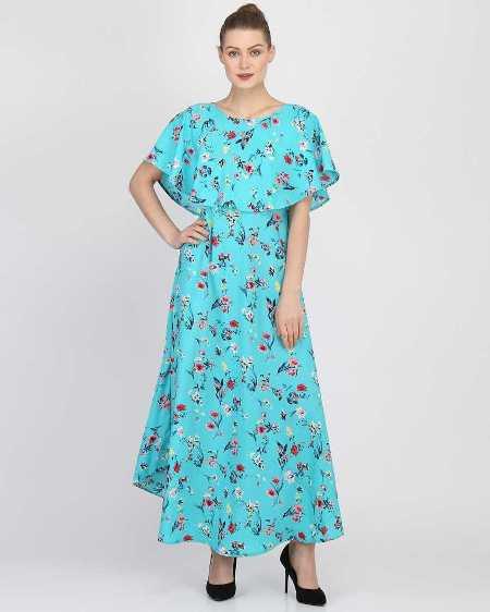 Buy Sky Blue Printed Flared Maxi Dress Online from YOYO Fashion