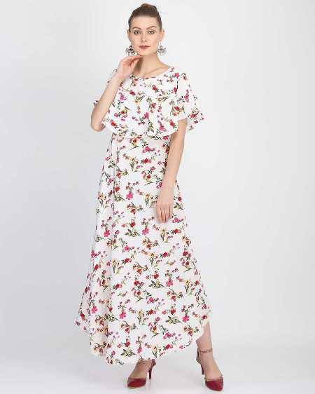Buy White Floral Printed A-Line Maxi Dress Online from YOYO Fashion