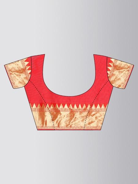 Orange Checked Designer Banarasi Saree - Blouse Pattern - YOYO Fashion