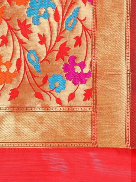 Orange Checked Designer Banarasi Saree - Pallu Pattern - YOYO Fashion