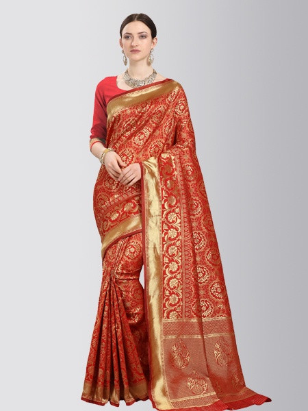 Red Designer Banarasi Silk Saree