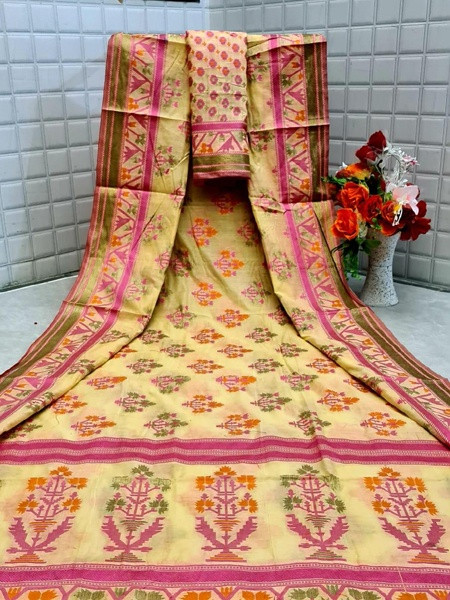 Buy Yellow Floral Printed Cotton Silk Saree Online from YOYO Fashion