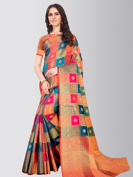 Women Orange Checked Cotton Silk Diwali Saree