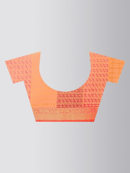 Orange Checked Cotton Silk Wedding Saree - Blouse Pattern - YOYO Fashion