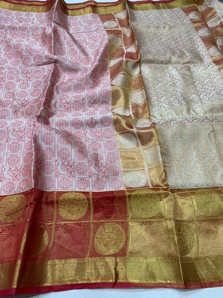Buy White and Red Muslin Silk Saree Online from YOYO Fashion