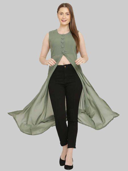 Buy Light Green Georgette Front Slit Kurti Online from YOYO Fashion