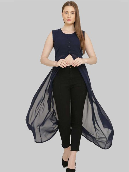Buy Navy Blue Georgette Front Slit Kurti Online from YOYO Fashion