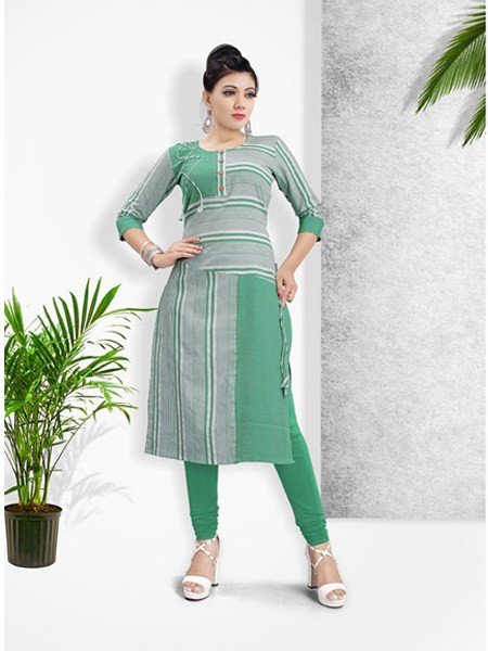 Buy Green Khadi Cotton Pritned Kurti Online from YOYO Fashion
