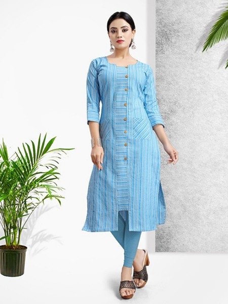 Buy Sky Blue Khadi Cotton Pritned Kurti Online from YOYO Fashion