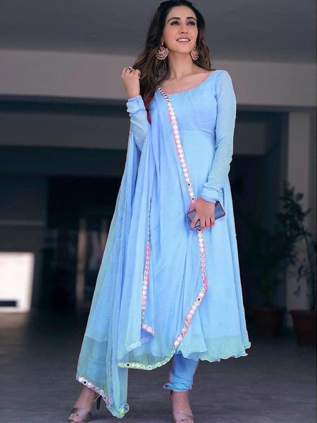 Buy Sky Blue Georgette Anarkali Frock Suit Online from YOYO Fashion