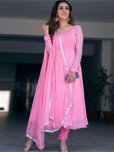 Buy Designer Pink Georgette Anarkali Frock Suit Online from YOYO Fashion