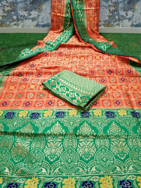 Buy Orange and Green Banarasi Patola Silk Saree Online from YOYO Fashion