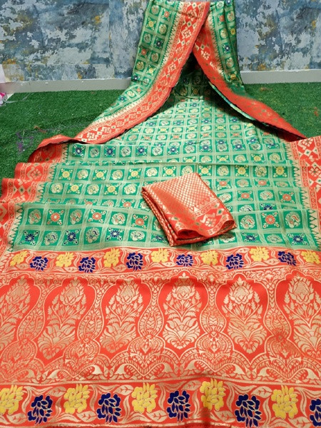 Light Green and  Orange Banarasi Patola Silk Saree