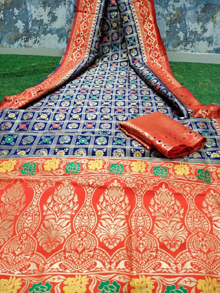 Blue and Orange Patola Printed Banarasi Saree