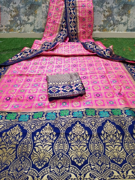 Buy Pink and Blue Patola Printed Banarasi Saree Online from YOYO Fashion