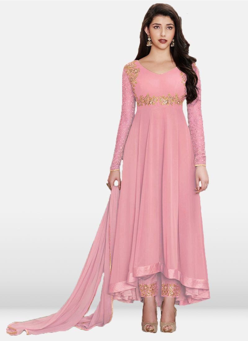 Buy Sparky Pink Anarkali Salwar Suit Online - YOYO Fashion