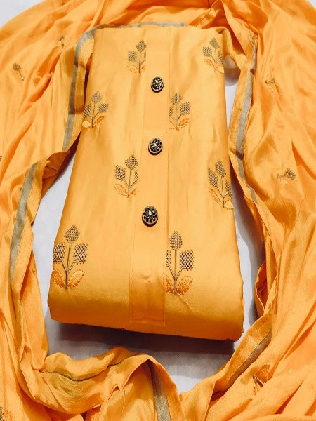 Buy Yellow Cotton Embroidery Work Dress Material Online from YOYO Fashion