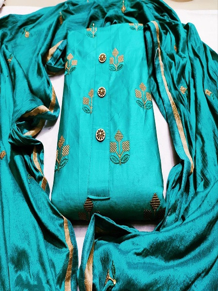 Buy Sea Green Cotton Embroidery Work Salwar Suit Online from YOYO Fashion