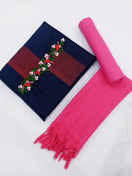 Buy Pink and Blue Embroidered Dress Material Online from YOYO Fashion