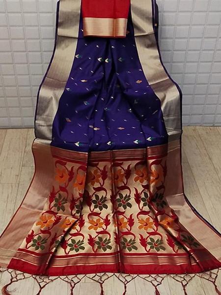 Buy Blue and Red Jamdani Cotton Silk Saree Online from YOYO Fashion