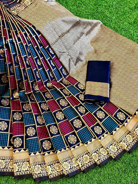 Buy Navy Blue and Pink Checks Soft Silk Saree Online from YOYO Fashion