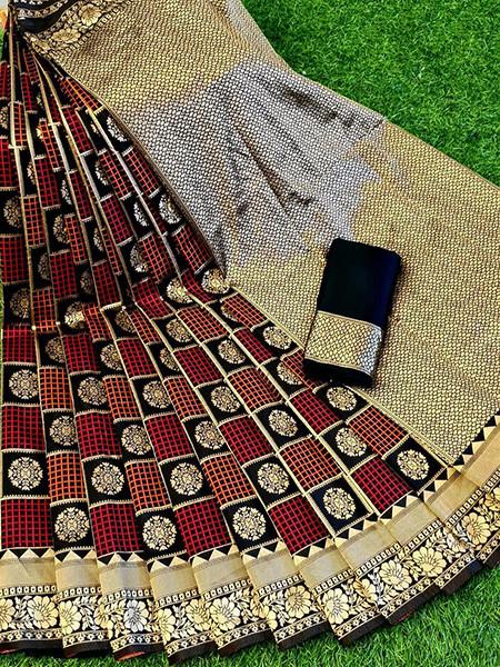 Buy Black and Red Soft Silk Checks Saree Online from YOYO Fashion